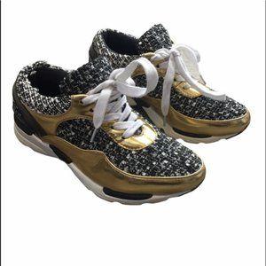 JEFFREY CAMPBELL Tweed/Gold Detail Sneakers 6.5